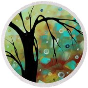 Abstract Art Original Landscape Painting Colorful Circles Morning Blues IIi By Madart Round Beach Towel
