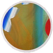 Abstract Blue With Red Sun Round Beach Towel