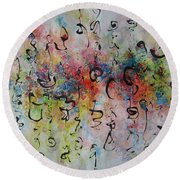 Abstract Calligraphy115 Round Beach Towel