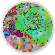 Abstract Childlike Rose Round Beach Towel