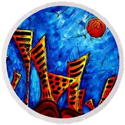 Abstract Cityscape Art Original City Painting The Lost City II By Madart Round Beach Towel