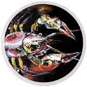 Abstract Crawfish Round Beach Towel