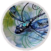 Abstract Dragonfly 10 Round Beach Towel