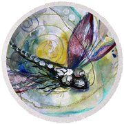 Abstract Dragonfly 11 Round Beach Towel