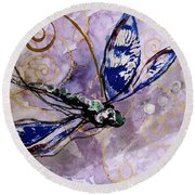 Abstract Dragonfly 9 Round Beach Towel