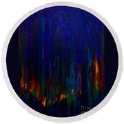 Abstract Evergreens Round Beach Towel