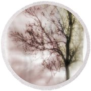 Abstract Fall Trees Round Beach Towel