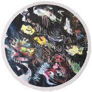 Abstract Fish212 Round Beach Towel