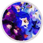Abstract Floral 031112 Round Beach Towel