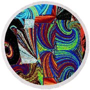 Abstract Fusion 37 Round Beach Towel