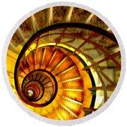 Abstract Golden Nautilus Spiral Staircase Round Beach Towel