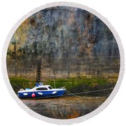 Abstract Harbour And Boat Round Beach Towel by Svetlana Sewell