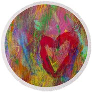 Abstract Heart Round Beach Towel