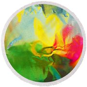 Abstract In Full Bloom Round Beach Towel