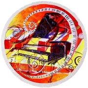 Abstract Jazzy Piano Round Beach Towel
