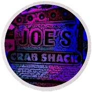 Abstract Joe's Crabshack Sign Round Beach Towel