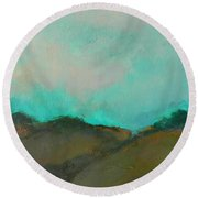 Abstract Landscape - Turquoise Sky Round Beach Towel