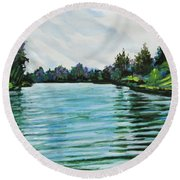 Abstract Landscape 5 Round Beach Towel