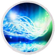 Abstract Lighting Effect  Round Beach Towel