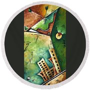 Abstract Martini Cityscape Contemporary Original Painting Martini Hour By Madart Round Beach Towel