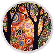 Abstract Modern Tree Landscape Distant Worlds By Amy Giacomelli Round Beach Towel