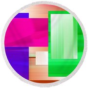 Abstract Number Three Round Beach Towel