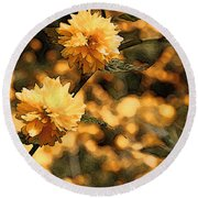 Abstract Of Yellow Flowers Round Beach Towel