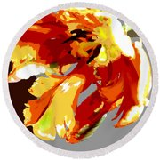 Abstract Parrot Tulip Round Beach Towel