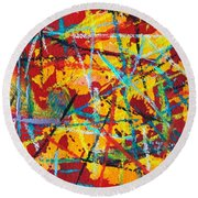 Abstract Pizza 1 Round Beach Towel
