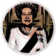 Abstract Portrait Of A Queen Round Beach Towel
