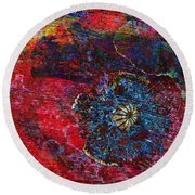 Abstract Red Poppy Round Beach Towel