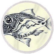 Abstract Redfish Round Beach Towel
