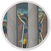 Abstract Reflection 34 Round Beach Towel