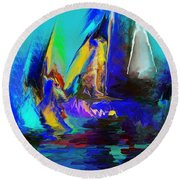 Abstract Regatta Round Beach Towel