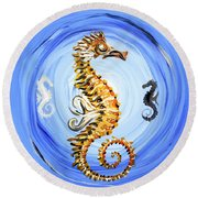 Abstract Sea Horse Round Beach Towel