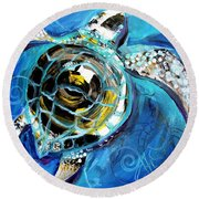 Abstract Sea Turtle In C Minor Round Beach Towel