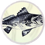 Abstract Speckled Trout Round Beach Towel by J Vincent Scarpace