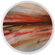 Abstract Sunset II Round Beach Towel