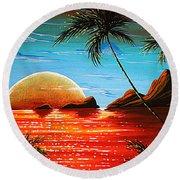 Abstract Surreal Tropical Coastal Art Original Painting Tropical Fusion By Madart Round Beach Towel