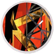 Abstract Tan 1 Round Beach Towel