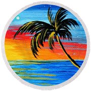 Abstract Tropical Palm Tree Painting Tropical Goodbye By Madart Round Beach Towel