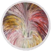 Abstract Vase And Energy Mouvement Round Beach Towel