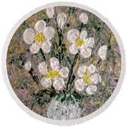 Abstract Wild Roses Heavy Impasto Round Beach Towel