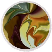 Abstract With Mood Round Beach Towel by Deborah Benoit