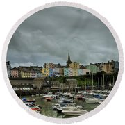 Across Tenby Harbour Round Beach Towel