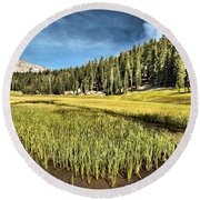Across The Meadow Round Beach Towel