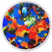 Acrylic Abstract Upon Wood Round Beach Towel