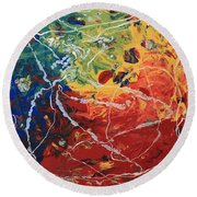 Acrylic  Poured  And  Dripped  2001 Round Beach Towel