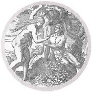 Adam & Eve Round Beach Towel