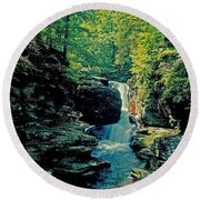 Adams Falls Round Beach Towel